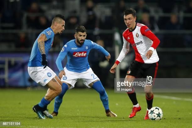 Marek Hamsik of SSC Napoli Elseid Hysaj of SSC Napoli Steven Berghuis of Feyenoord during the UEFA Champions League group F match between Feyenoord...