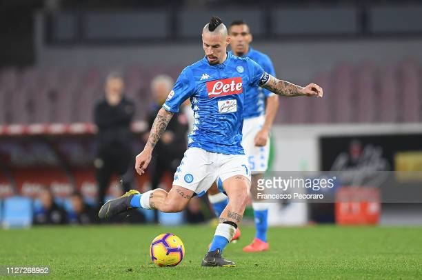 Marek Hamsik of SSC Napoli in action during the Serie A match between SSC Napoli and UC Sampdoria at Stadio San Paolo on February 2 2019 in Naples...