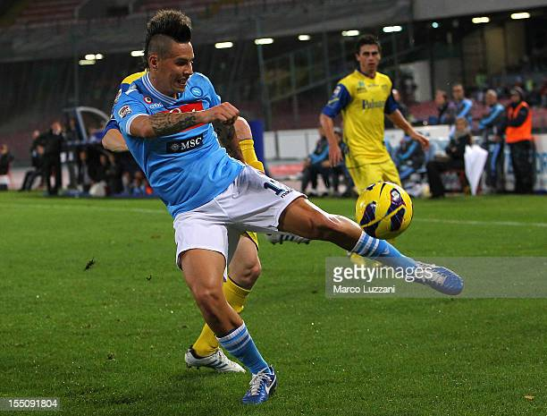 Marek Hamsik of SSC Napoli in action during the Serie A match between SSC Napoli and AC Chievo Verona at Stadio San Paolo on October 28 2012 in...