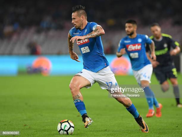 Marek Hamsik of SSC Napoli in action during the Serie A match between SSC Napoli and FC Internazionale at Stadio San Paolo on October 21 2017 in...