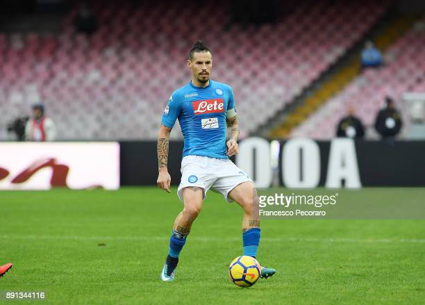 Marek Hamsik of SSC Napoli in action during the Serie A match between SSC Napoli and ACF Fiorentina at Stadio San Paolo on December 10 2017 in Naples...