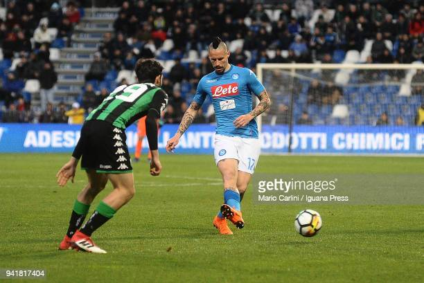 Marek Hamsik of SSC Napoli in action during the serie A match between US Sassuolo and SSC Napoli at Mapei Stadium Citta' del Tricolore on March 31...