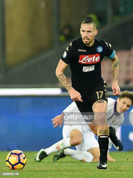 Marek Hamsik of SSC Napoli in action during the TIM Cup match between SSC Napoli and ACF Fiorentina at Stadio San Paolo on January 24 2017 in Naples...
