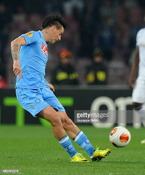 Marek Hamsik of SSC Napoli in action during the UEFA Europa League Round of 16 match between SSC Napoli and FC Porto at Stadio San Paolo on March 20...