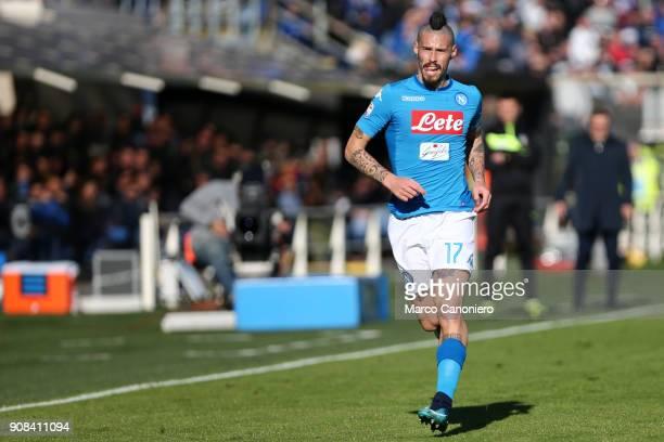 Marek Hamsik of Ssc Napoli in action the Serie A football match between Atalanta Bergamasca Calcio and Ssc Napoli. Ssc Napoli wins 1-0 over Atalanta...