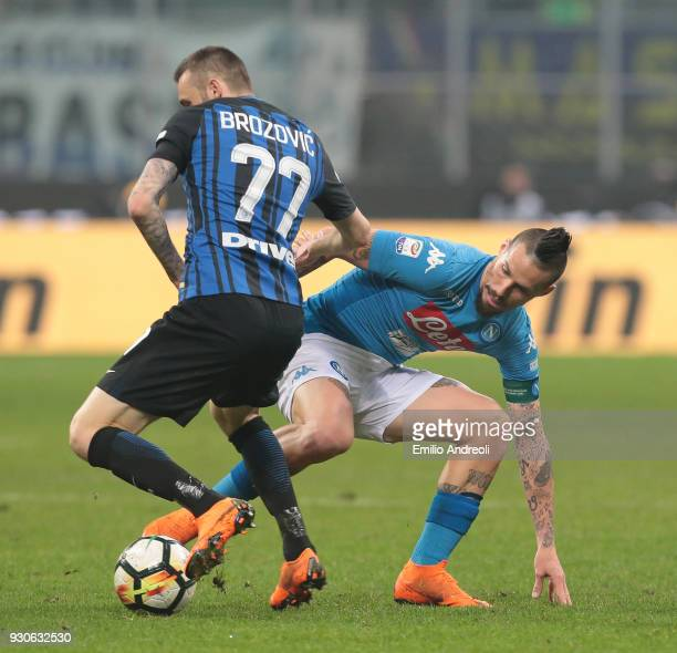Marek Hamsik of SSC Napoli is challenged by Marcelo Brozovic of FC Internazionale Milano during the serie A match between FC Internazionale and SSC...