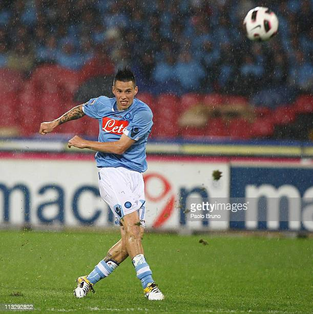 Marek Hamsik of SSC Napoli kicks the ball during the Serie A match between SSC Napoli and Genoa CFC at Stadio San Paolo on April 30 2011 in Naples...