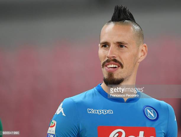 Marek Hamsik of SSC Napoli looks on during the serie A match between SSC Napoli v Genoa CFC at Stadio San Paolo on March 18 2018 in Naples Italy