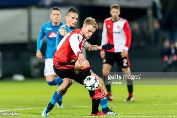 Marek Hamsik of SSC Napoli Nicolai Jorgensen of Feyenoord during the UEFA Champions League group F match between Feyenoord Rotterdam and SSC Napoli...