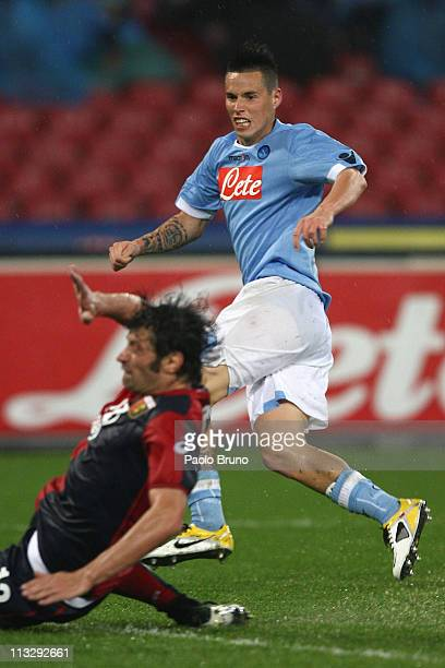 Marek Hamsik of SSC Napoli scores the opening goal during the Serie A match between SSC Napoli and Genoa CFC at Stadio San Paolo on April 30 2011 in...
