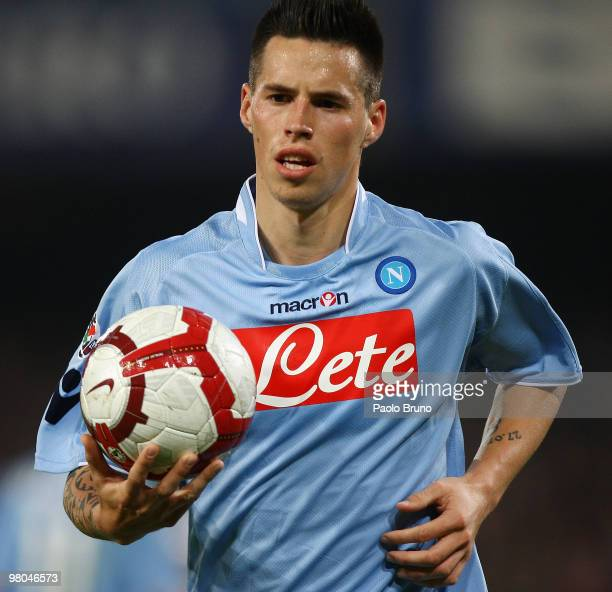 Marek Hamsik of SSC Napoli with the ball during the Serie A match between SSC Napoli and Juventus FC at Stadio San Paolo on March 25 2010 in Naples...