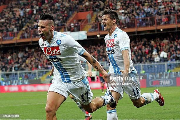 Marek Hmasik of SSC Napoli celebrates a goal during the Serie A match between Genoa CFC and SSC Napoli at Stadio Luigi Ferraris on November 11 2012...