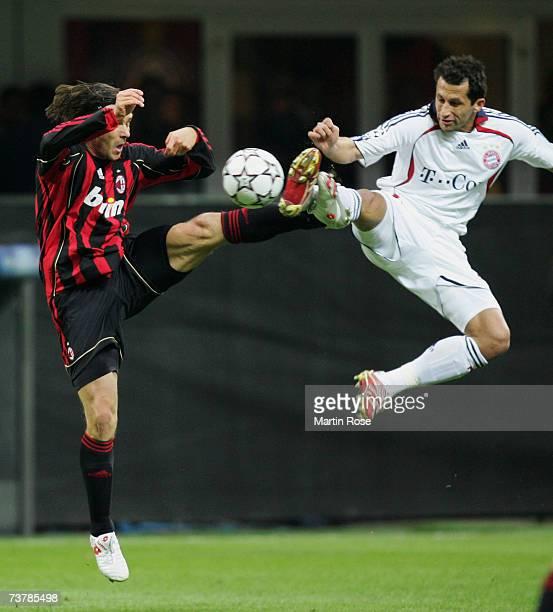 Marek Jankulovski of Milan and Hasan Salihamidzic of Munich fight for the ball during the UEFA Champions League quarter final first leg match between...