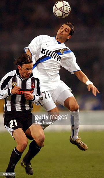 Marek Jankulovski of Udinese and Francesco Coco of Inter Milan in action during the Serie A match between Udinese and Inter Milan played at the...