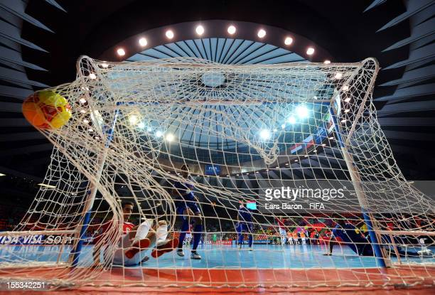 Marek Kopecky of Czech Republic scores his teams first goal during the FIFA Futsal World Cup Group E match between Czech Republic and Kuwait at...