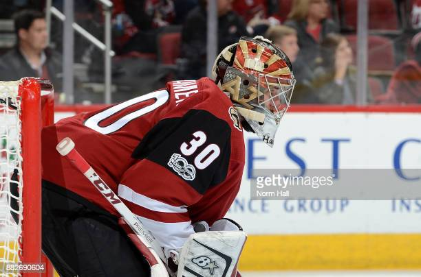 Marek Langhamer of the Arizona Coyotes looks up ice from his own net against the Vegas Golden Knights at Gila River Arena on November 25 2017 in...