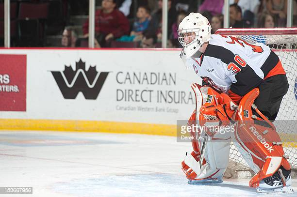 Marek Langhamer of the Medicine Hat Tigers defends net against the Vancouver Giants in WHL action on October 5 2012 at Pacific Coliseum in Vancouver...