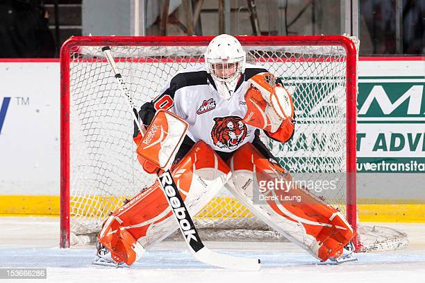 Marek Langhamer of the Medicine Hat Tigers warmsup before the game against the Vancouver Giants in WHL action on October 5 2012 at Pacific Coliseum...