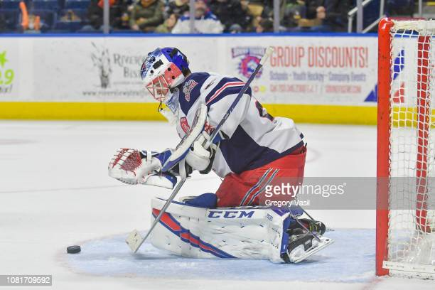 Marek Mazanec of the Hartford Wolf Pack makes a save during a game against the Bridgeport Sound Tigers at the Webster Bank Arena on January 12 2019...