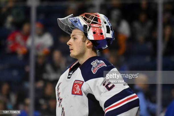 Marek Mazanec of the Hartford Wolf Pack rests during a brief stoppage in play during a game against the Bridgeport Sound Tigers at the Webster Bank...