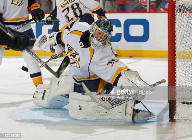 Marek Mazanec of the Nashville Predators defends his goal during warmups prior to the game against the New Jersey Devils at the Prudential Center on...