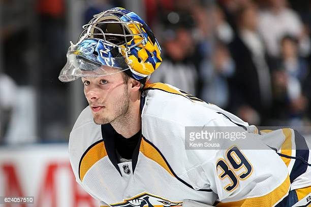Marek Mazanec of the Nashville Predators during the second period against the Toronto Maple Leafs at the Air Canada Centre on November 15 2016 in...