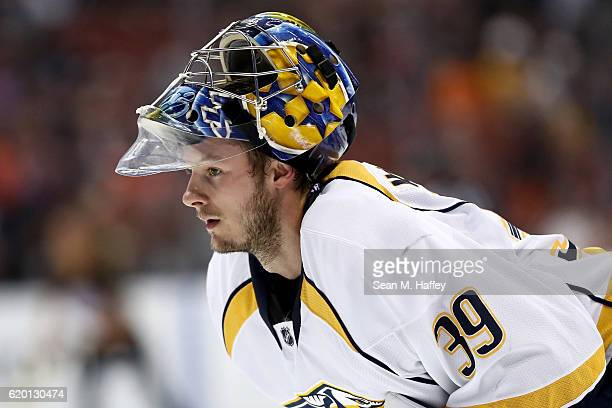 Marek Mazanec of the Nashville Predators looks on during the third period of a game against the Anaheim Ducks at Honda Center on October 26 2016 in...