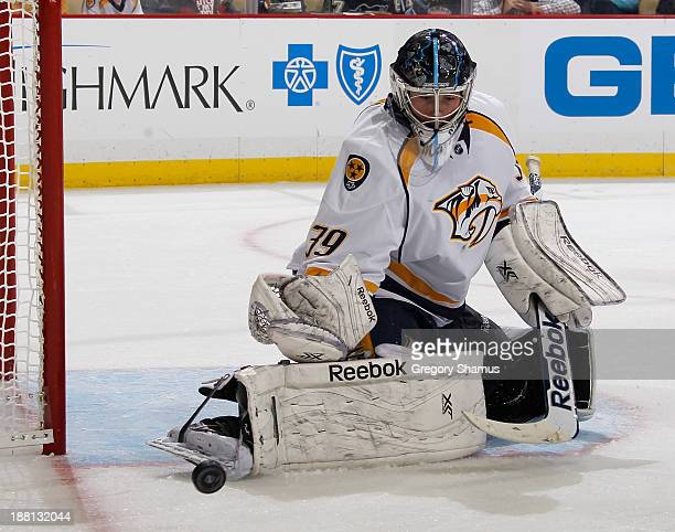 Marek Mazanec of the Nashville Predators makes a save during the second period against the Pittsburgh Penguins on November 15 2013 at Consol Energy...