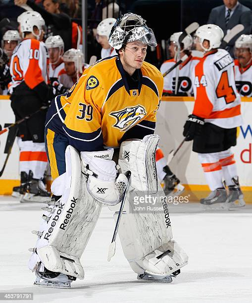 Marek Mazanec of the Nashville Predators skates back to the net during a break in action against the Philadelphia Flyers at Bridgestone Arena on...