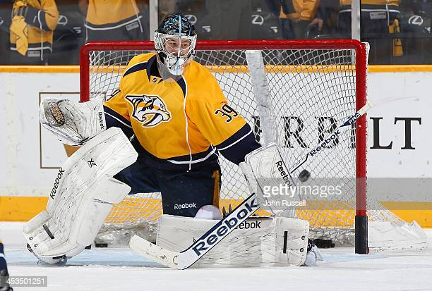 Marek Mazanec of the Nashville Predators skates in warmups prior to the game against at Bridgestone Arena on November 28 2013 in Nashville Tennessee