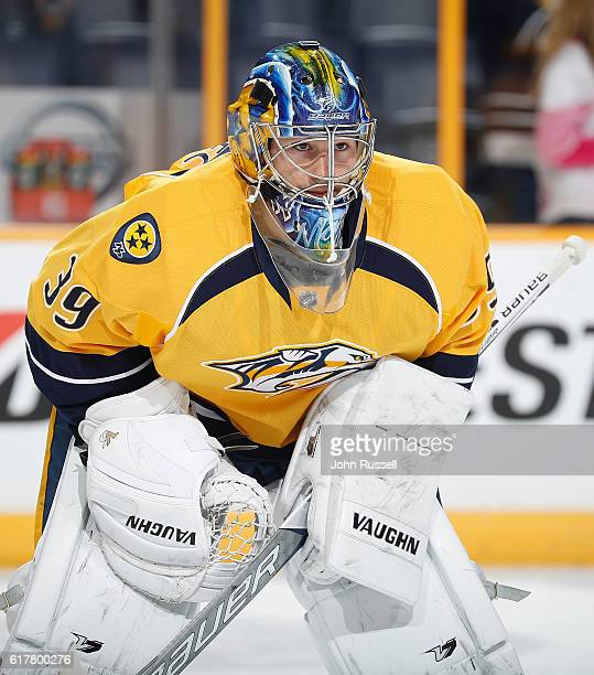 Marek Mazanec of the Nashville Predators skates in warmups prior to an NHL game against the Dallas Stars at Bridgestone Arena on October 18 2016 in...