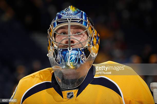 Marek Mazanec of the Nashville Predators skates in warmups prior to the game against the St Louis Blues during an NHL game at Bridgestone Arena on...