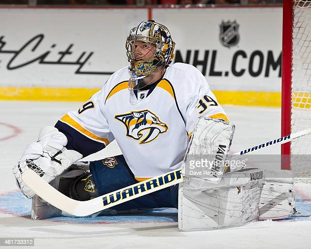Marek Mazanec of the Nashville Predators stretches on a play stoppage during a NHL game against the Detroit Red Wings on January 17 2015 at Joe Louis...