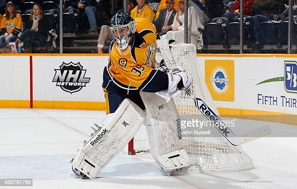 Marek Mazanec of the Nashville Predators tends net against the Philadelphia Flyers at Bridgestone Arena on November 30 2013 in Nashville Tennessee