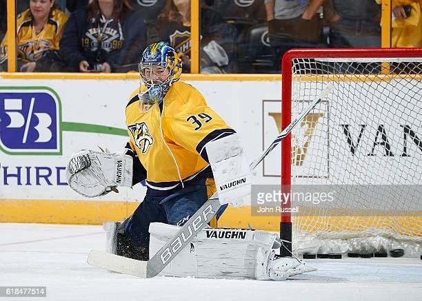 Marek Mazanec of the Nashville Predators tends net in warmups prior an NHL game against the Pittsburgh Penguins at Bridgestone Arena on October 22...