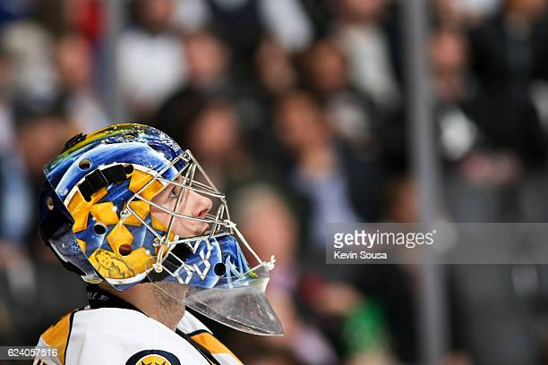 Marek Mazanec of the Nashville Predators watches the replay during the second period against the Toronto Maple Leafs at the Air Canada Centre on...