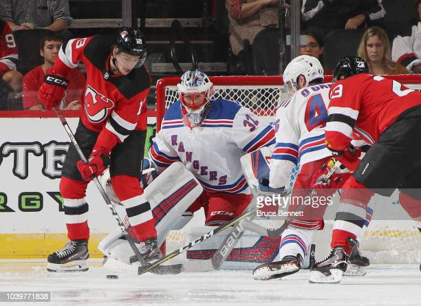 Marek Mazanec of the New York Rangers skates against the New Jersey Devils during a preseason game at the Prudential Center on September 17 2018 in...