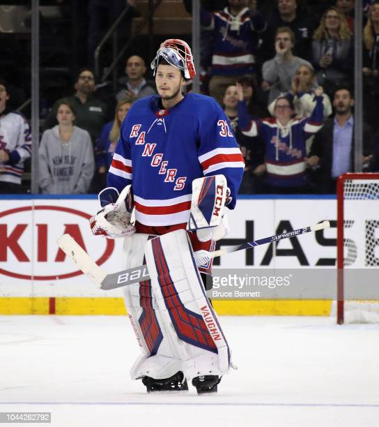Marek Mazanec of the New York Rangers skates against the New Jersey Devils at Madison Square Garden on September 24 2018 in New York City The Rangers...