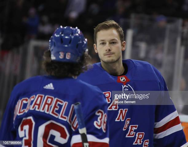 Marek Mazanec of the New York Rangers skates to the lockerroom at the end of the game against the Calgary Flames at Madison Square Garden on October...