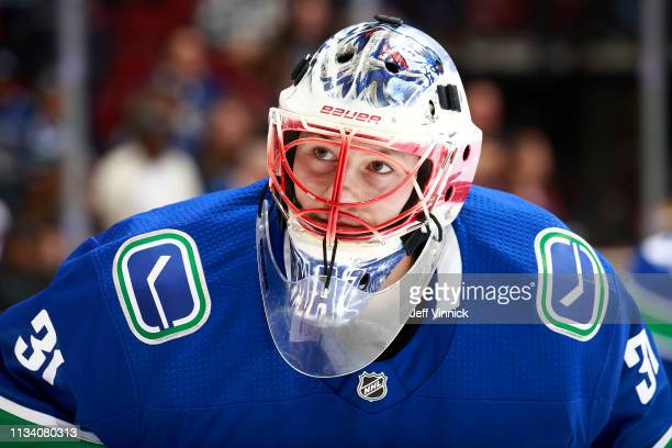 Marek Mazanec of the Vancouver Canucks looks on from his crease during their NHL game against the New York Islanders at Rogers Arena February 23 2019...