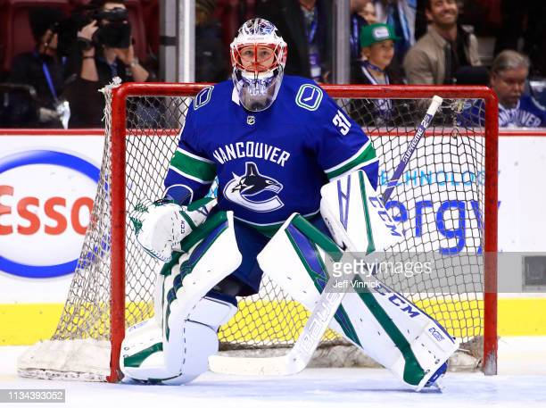 Marek Mazanec of the Vancouver Canucks looks on from his crease during their NHL game against the Arizona Coyotes at Rogers Arena February 21 2019 in...