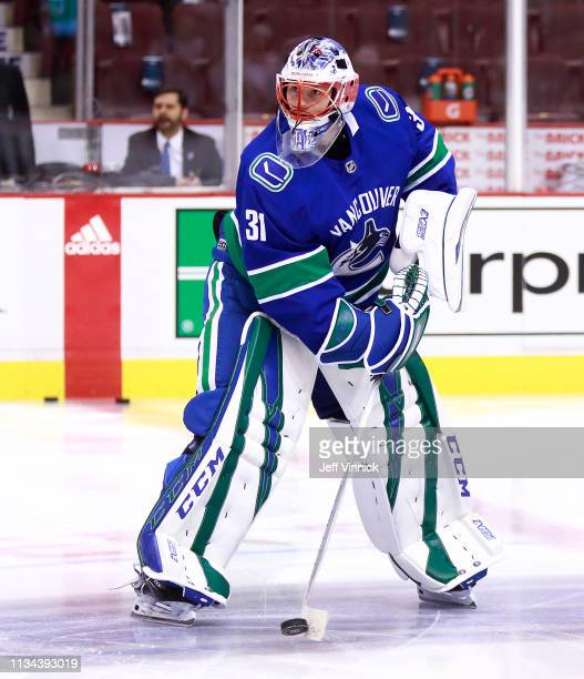 Marek Mazanec of the Vancouver Canucks skates up ice during their NHL game against the Arizona Coyotes at Rogers Arena February 21 2019 in Vancouver...