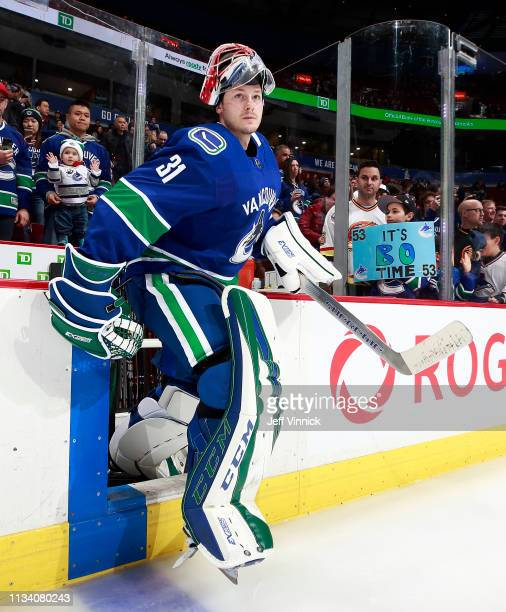 Marek Mazanec of the Vancouver Canucks steps onto the ice during their NHL game against the New York Islanders at Rogers Arena February 23 2019 in...