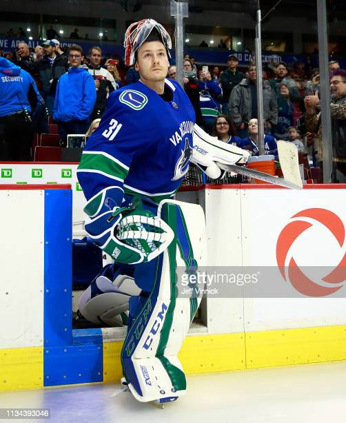 Marek Mazanec of the Vancouver Canucks steps onto the ice during their NHL game against the Arizona Coyotes at Rogers Arena February 21 2019 in...