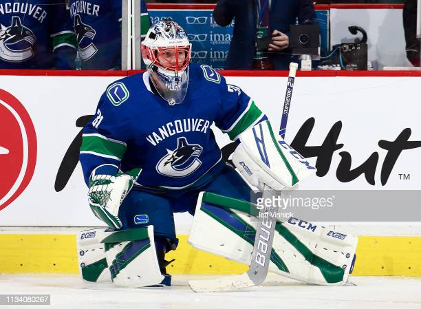 Marek Mazanec of the Vancouver Canucks stretches during their NHL game against the New York Islanders at Rogers Arena February 23 2019 in Vancouver...