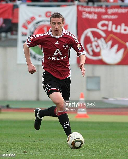 Marek Mintal of Nuernberg in action during the Bundesliga match between 1. FC Nuernberg and FSV Mainz 05 at the Easy Credit Stadium on April 3, 2010...