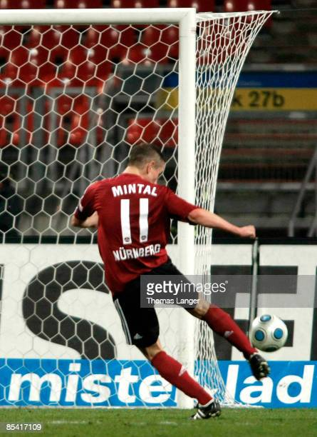 Marek Mintal of Nuernberg scores the 40 goal during the 2nd Bundesliga match between 1 FC Nuernberg and RotWeiss Ahlen on March 13 2009 at the...
