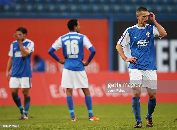Marek Mintal of Rostock looks on after the Second Bundesliga match between FC Hansa Rostock and SG Dynamo Dresden at DKB Arena on December 18, 2011...