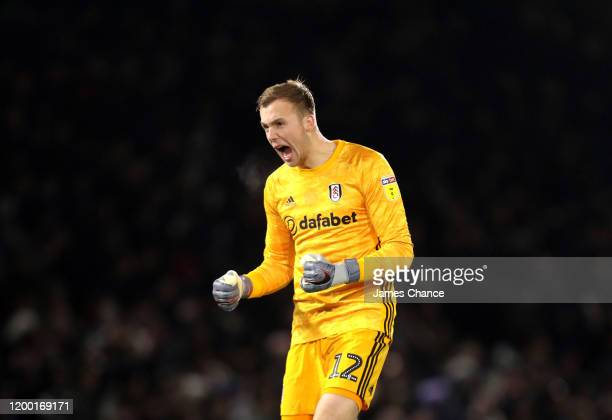 Marek Rodak of Fulham celebrates his sides first goal during the Sky Bet Championship match between Fulham and Middlesbrough at Craven Cottage on...