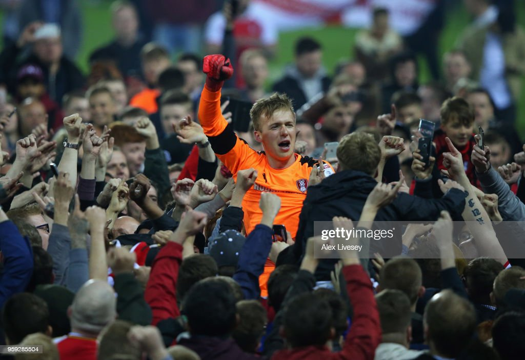 Marek Rodak of Rotherham United is carried by supporters after victory in the Sky Bet League One Play Off Semi Final second leg match between Rotherham United and Scunthorpe United at The New York Stadium on May 16, 2018 in Rotherham, England.